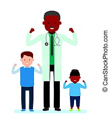 Family doctor. Caring for the health of the child. Doctor, pediatrician with children, patients, a girl and a boy.