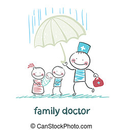 family doctor holding an umbrella from the rain on her mother, father and child