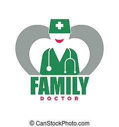 Family doctor service promotional emblem with woman silhouette in uniform