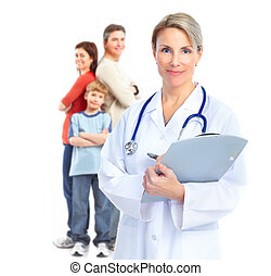 Family doctor - Smiling family medical doctor and young...