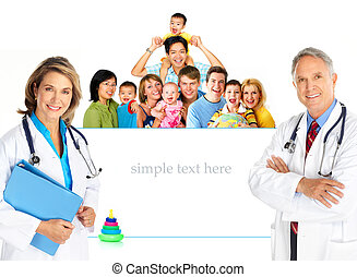 Family doctor - Smiling family medical doctors and young...