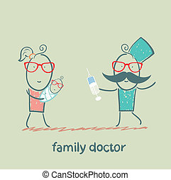 family doctor treats her mother with a child