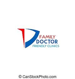 Family doctor vector emblem