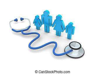 Family Doctor Visit - Family Doctor visit isolated on white...