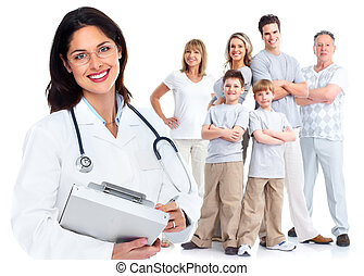 Family doctor woman. Health care. Isolated on white...