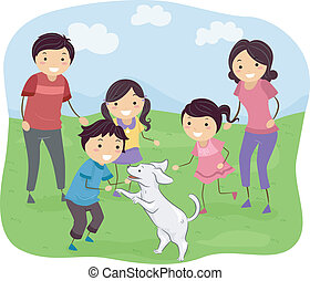 Illustration Featuring a Family Playing with Their Dog