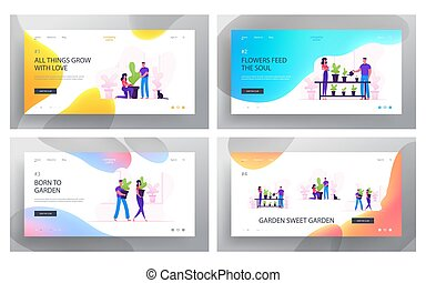 Family Doing Housework and Care of Plants Website Landing Page Set. Couple Home Cleaning, Washing Greens, Cleaning Home Garden, Water Potted Flowers Web Page Banner. Cartoon Flat Vector Illustration