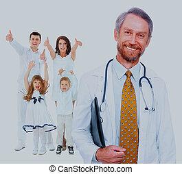 family., doutor, feliz