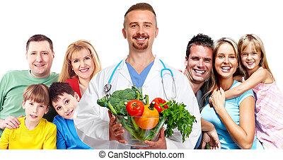 family., doutor médico, feliz