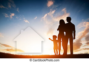 Family dream about a new house, home. Child, parents.