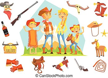Family Dressed As Cowboys Surrounded By Wild West Related Objects