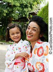 Family dressed in kimono.