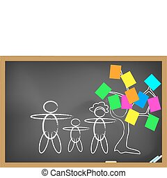 Family drew on blackboard - The concept of family drew on...