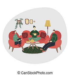 Family drink tea coffee together. Have a nice weekend with friends. Hygge concept. Colored flat vector illustration