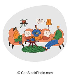 Family drink tea coffee together. Have a nice weekend with friends. Hygge concept. Cute flat vector illustration