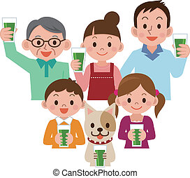 Family drinking vegetable juice