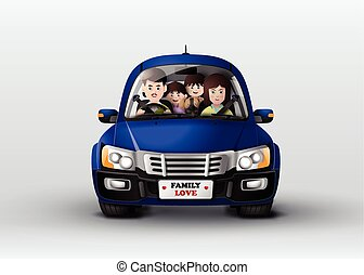 Family driving in car . - Funny family driving in car .