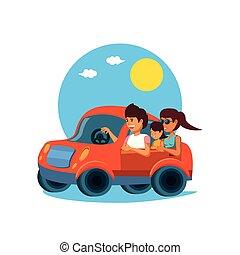 family driving tourism little car