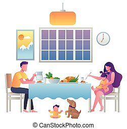 Flat design illustration with young family eating at home.