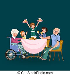 family eating dinner at home, happy people eat food together, girl treat grandfather sitting by dining table, granddaughter takes care of old grandmother, children hold cakes vector illustration.