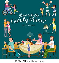 family eating dinner at home, happy people eat food together, mom and dad treat grandfather sitting by dining table, girl takes care of old grandmother, children hold cakes vector illustration