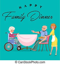family eating dinner at home, happy people eat food together, mom treat grandfather sitting by dining table, girl takes care of old grandmother, disabled woman on wheelchair vector illustration