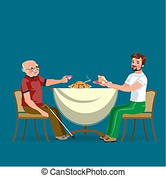family eating dinner at home, happy people eat food together, son and dad treat grandfather sitting by dining table, sanior man hold cap of tee, father vector illustration