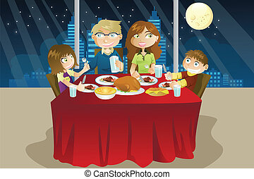 Family eating dinner - A vector illustration of a family...