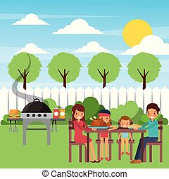 family eating dinner in the garden with grill hot food