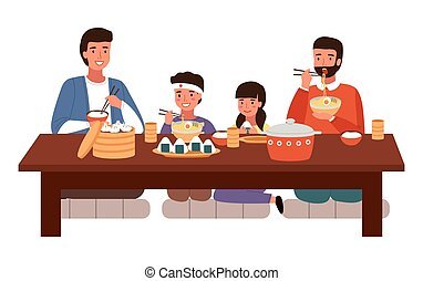 Family eating Japanese food at home. People in national oriental costumes have dinner together