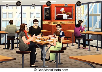 Family Eating Pizza - A vector illustration of happy family ...