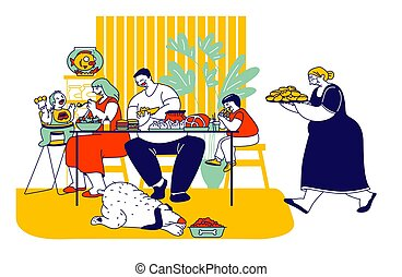 Family Eating Unhealthy Food with High Level Fat, Carbs....