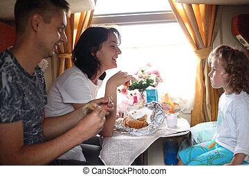 family eats in train