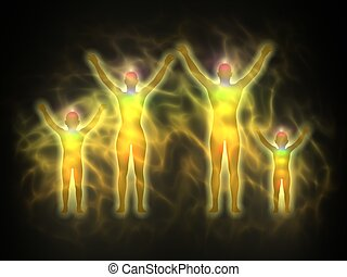 Family - energy body, aura - Illustration of human energy...