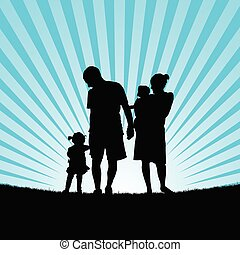family enjou with children in nature silhouette color illustration