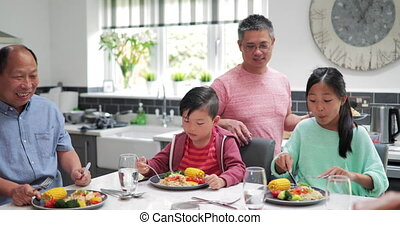 Family Enjoying a Stir Fry at Home - Family are in the...
