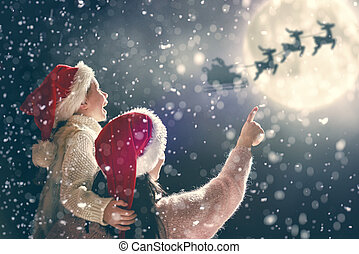 Family enjoying Christmas - Merry Christmas and happy...