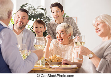 Family enjoying dinner