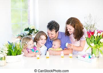 Family enjoying Easter breakfast