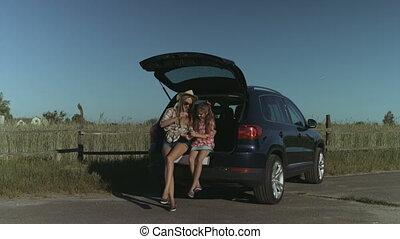 Family enjoying leisure in nature during road trip - Joyful...
