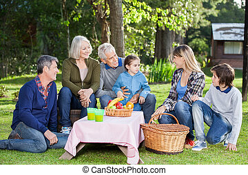 Family Enjoying Picnic At Campsite