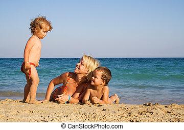 Family enjoying the beach