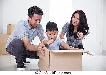 family enjoying their new house