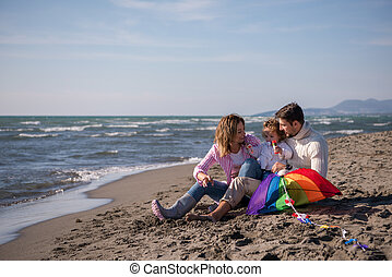 family enjoying vecation during autumn day
