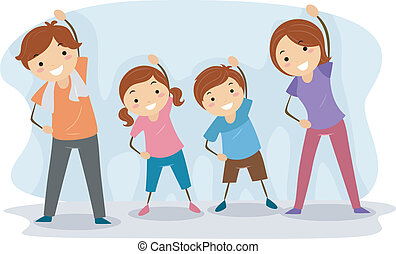 Family Exercise - Illustration of a Family Exercising...