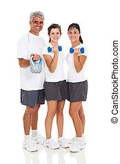family exercising on white background