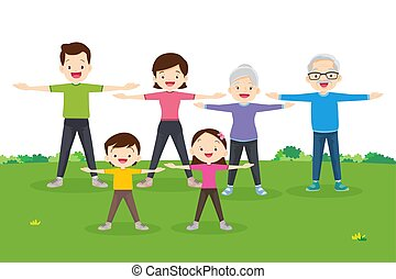 family exercising together. Happy Family exercising Together...