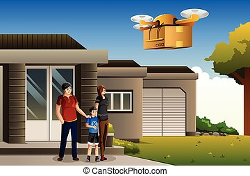 Family expecting a drone package delivery
