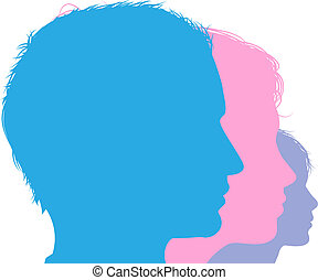 Family face silhouette