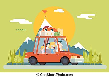 Family Father Mother Son Daughter Travel Lifestyle Concept of Planning a Summer Vacation Tourism and Journey Symbol Car Forest City Modern Flat Design Icon Template Vector Illustration